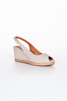 Moda Değirmeni Kadın  Bej Keten Dolgu Topuklu Ayakkabı Md1013-120-0001 2