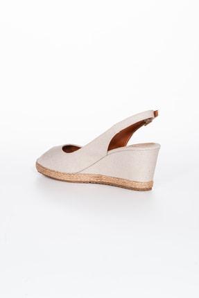 Moda Değirmeni Kadın  Bej Keten Dolgu Topuklu Ayakkabı Md1013-120-0001 3