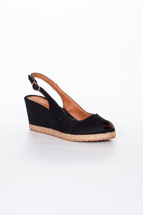 Moda Değirmeni Kadın  Keten Dolgu Topuklu Ayakkabı  Siyah  Md1013-120-0001 2