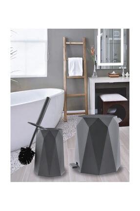 Elif Geo 2'li Banyo Seti (plastik 5 Lt Çöp Kovası Ve Tuvalet Fırçası-antrasit) 4