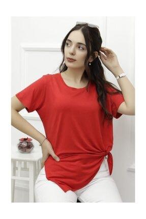 Lukas Kadın Yan Yırtmaçlı Viskon Tişört Kırmızı - 1174.1095. 3