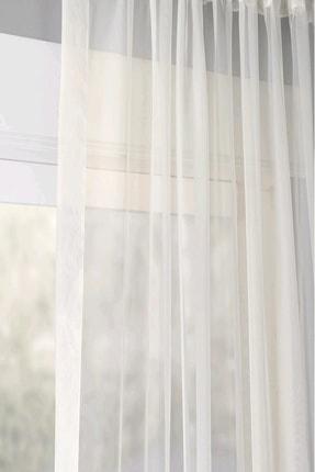 Evdepo Home Hazır 1/2 Seyrek Pileli Vual Tül Perde - Beyaz 350 X 250 1