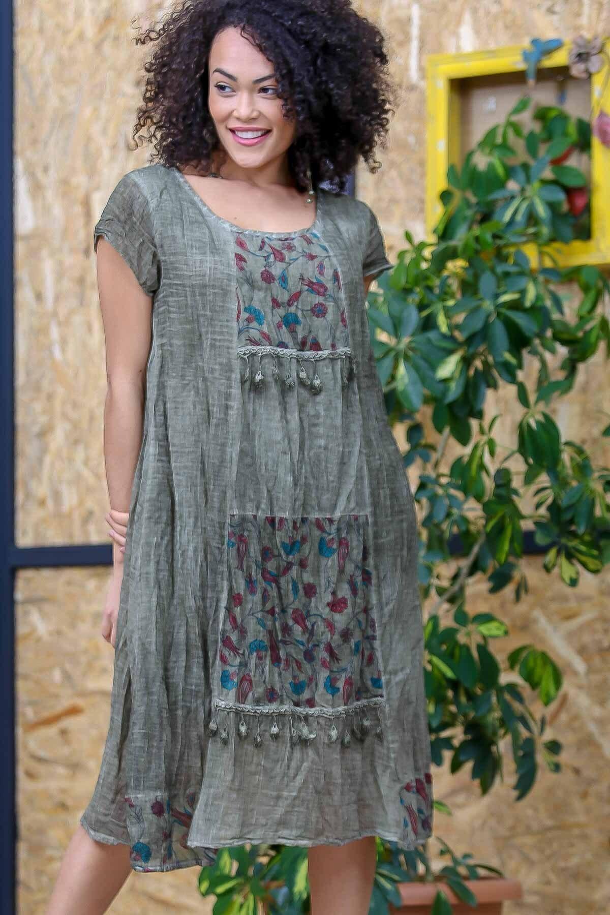 Chiccy Kadın Yeşil Bohem Tülbent Detaylı Saçaklı Yıkamalı Elbise M10160000EL97063 1
