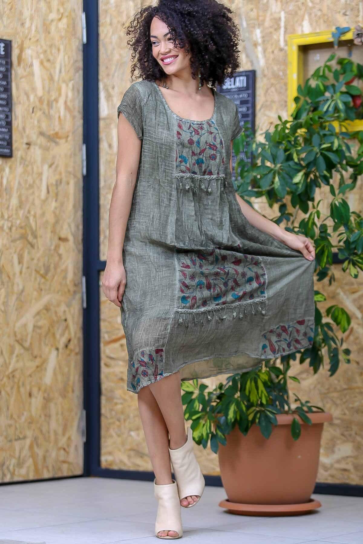 Chiccy Kadın Yeşil Bohem Tülbent Detaylı Saçaklı Yıkamalı Elbise M10160000EL97063 2