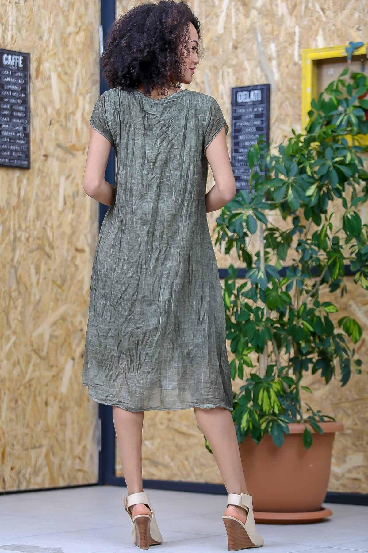 Chiccy Kadın Yeşil Bohem Tülbent Detaylı Saçaklı Yıkamalı Elbise M10160000EL97063 3