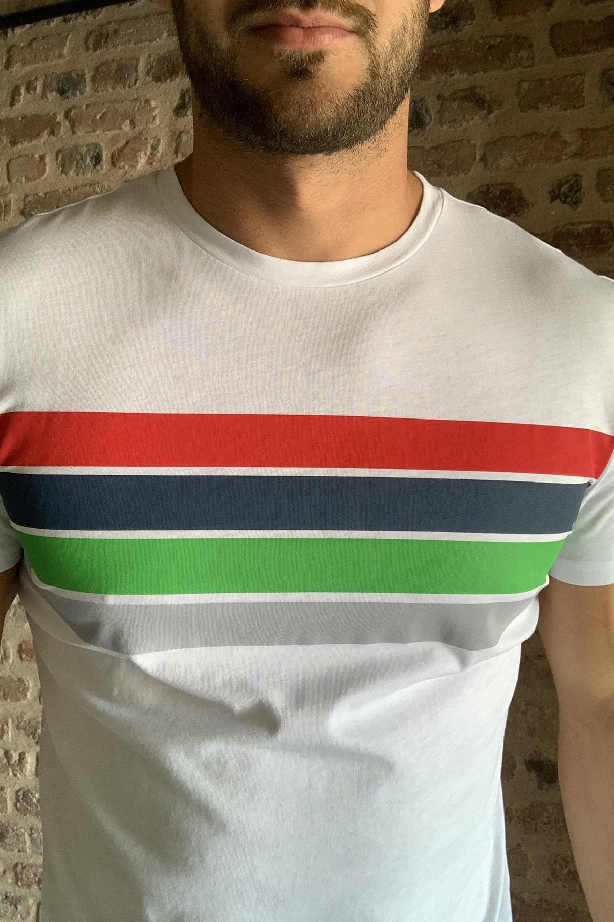 TRENDYOL MAN Beyaz Erkek Baskılı Slim Fit T-Shirt TMNSS20TS0693 3