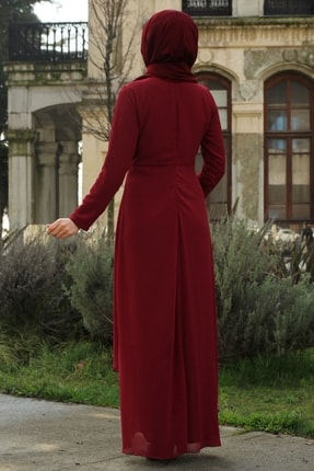 Feiza Collection Kadın Payet Detaylı Tesettür Abiye Elbise - Bordo 3
