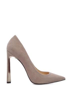 Kemal Tanca Bej Kadın Vegan Klasik Topuklu Ayakkabı 22 2000 BN AYK 0