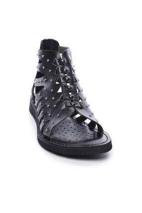 Kemal Tanca Hakiki Deri Siyah Kadın Sandalet Sandalet 649 145 BN SND 1