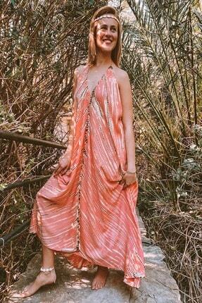 Kadın Batik Turuncu Plaj Elbisesi Ferayebutik-5337 FERAYEBUTİK-5337