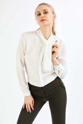 Pera Kadın Beyaz Fular Gömlek 3