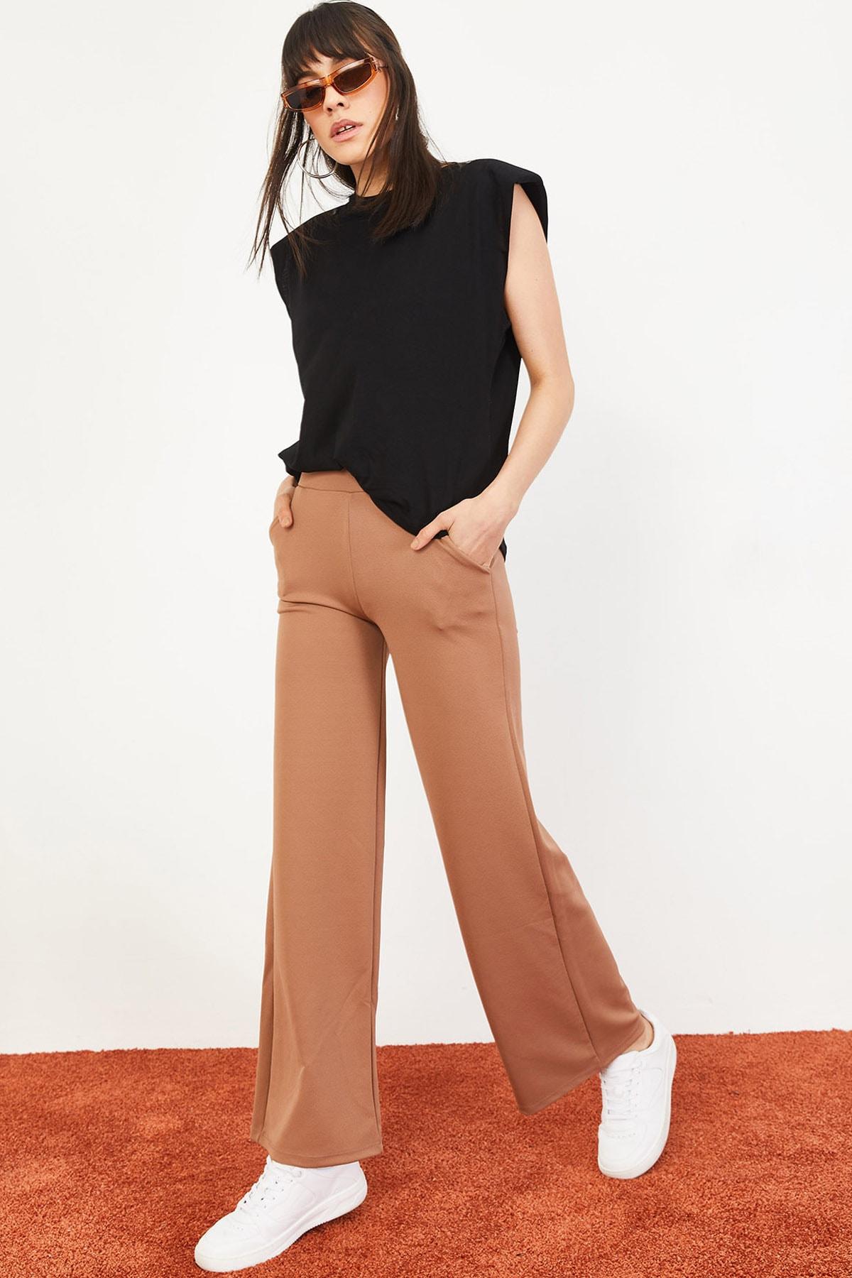Bianco Lucci Kadın Beli Lastikli Bol Paça Pantolon Taba 10031052 0