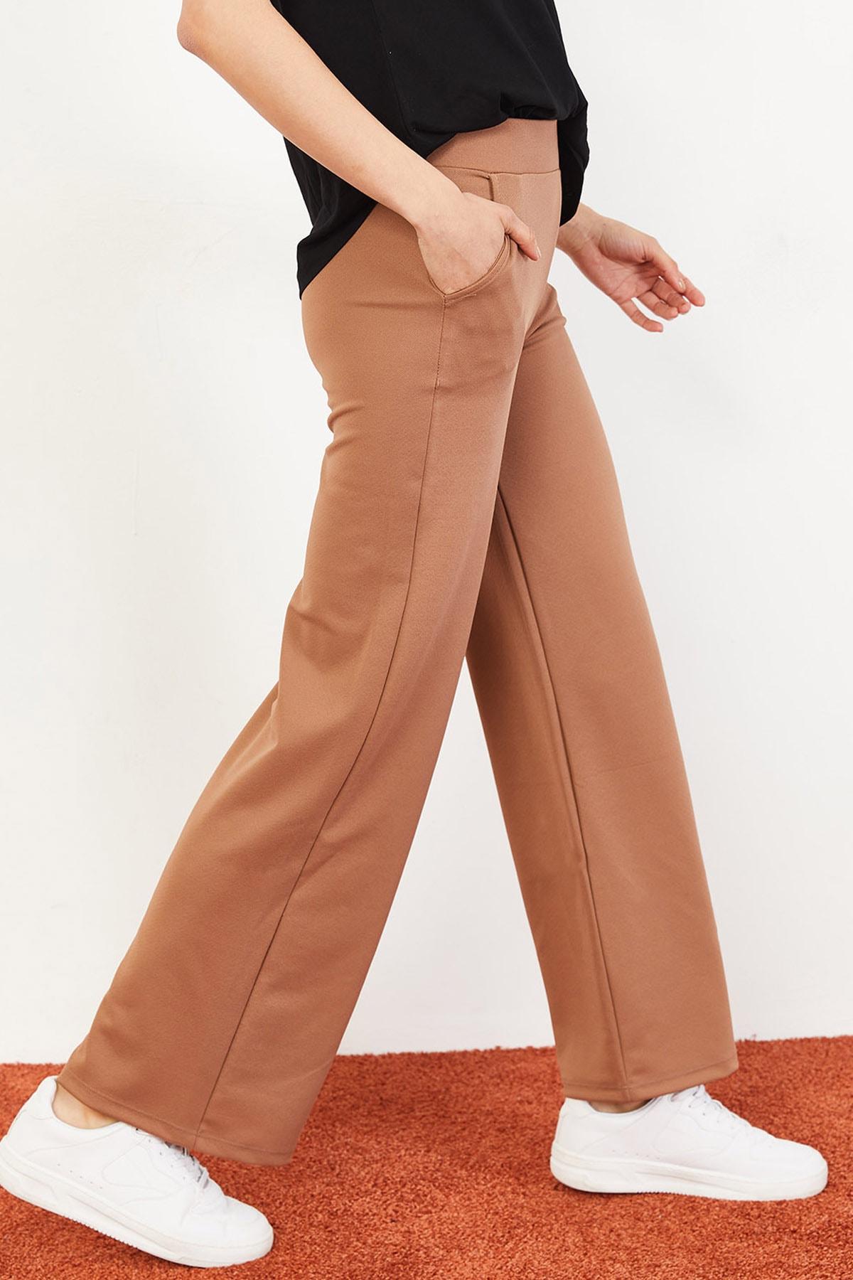 Bianco Lucci Kadın Beli Lastikli Bol Paça Pantolon Taba 10031052 2