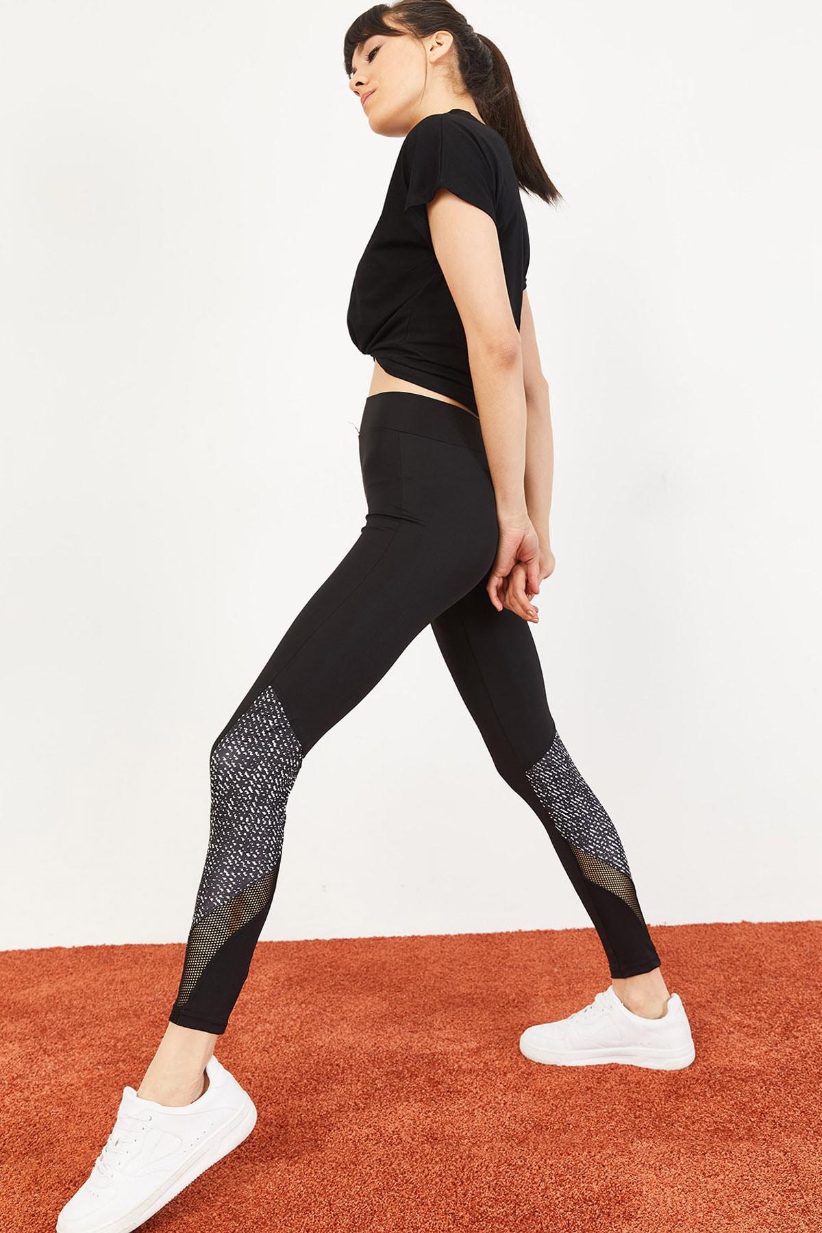 Bianco Lucci Kadın Diz Altı Digital Baskı Çapraz Tül Spor Tayt Siyah 10051056 1
