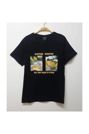Köstebek Unisex T-shirt Siyah Art - Sleeping Beauties - Classical Art Remade 0