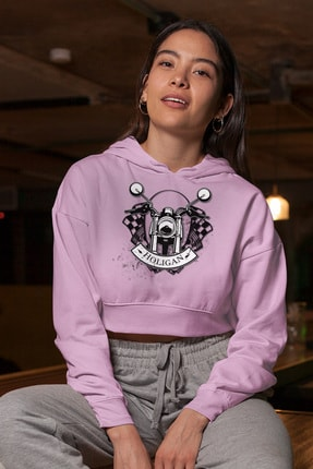 Angemiel Wear Holigan Pembe Kısa Kapüşonlu Sweatshirt 0