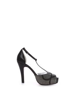 Kemal Tanca Siyah Kadın Vegan Klasik Topuklu Ayakkabı 592 2308 BN AYK 0