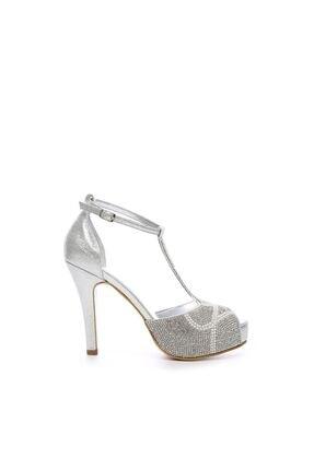Kemal Tanca Gri Kadın Vegan Klasik Topuklu Ayakkabı 592 2308 BN AYK 0