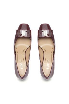 Kemal Tanca Bordo Kadın Vegan Klasik Topuklu Ayakkabı 22 619 BN AYK 3