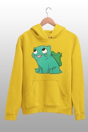 Angemiel Wear Balbazar Pokemon Sarı Erkek Kapüşonlu Sweatshirt Çanta Kombin 2