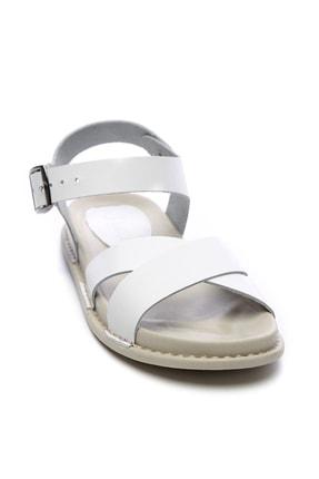 Kemal Tanca Hakiki Deri Beyaz Kadın Sandalet Sandalet 539 1308 BN SNDLT Y20 1