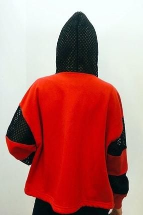 Quzu Kadın Kapüşonlu Fileli Sweat Mont Kırmızı 19y 17180 3
