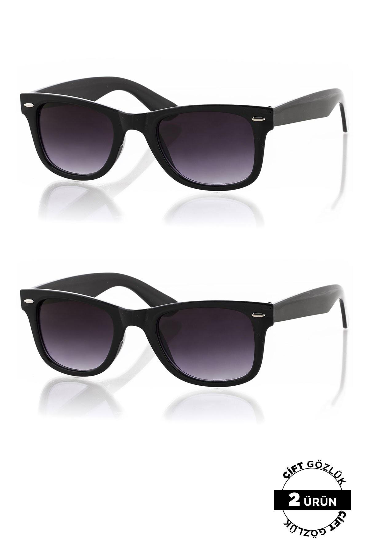 Polo55 Unisex Güneş Siyah Gözlüğü 2'li Ürün 0