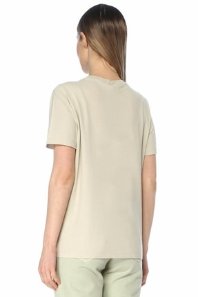 Beymen Club Bej Çiçek Nakışlı Basic T-shirt 2