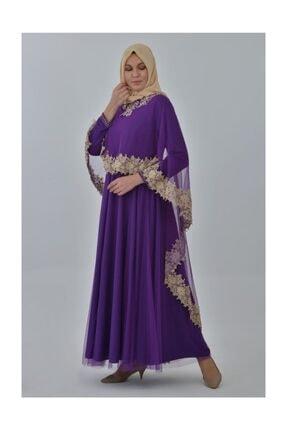 Devri Sultan Boncuk Işlemeli Çıkarılabilir Pelerinli Büyük Beden Tesettür Abiye Mor Elbise 1