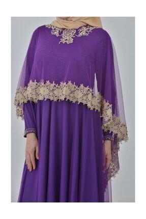 Devri Sultan Boncuk Işlemeli Çıkarılabilir Pelerinli Büyük Beden Tesettür Abiye Mor Elbise 2