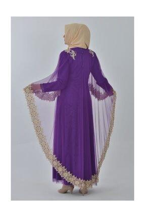 Devri Sultan Boncuk Işlemeli Çıkarılabilir Pelerinli Büyük Beden Tesettür Abiye Mor Elbise 3