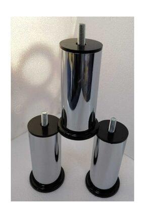 CAM MENFEZCİM 4 Adet 10 Cm Metal Baza Ayağı Vidalı Metal Krom Ayak 10 Cm 10 Metrix 2