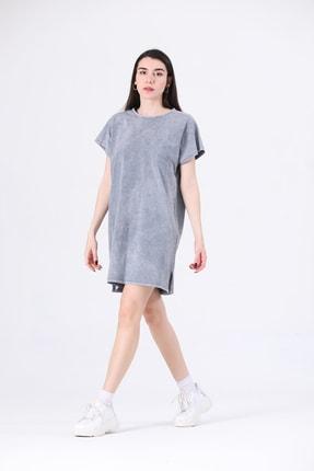 Canela Kadın Elbise Geniş Kalıp Gri 2