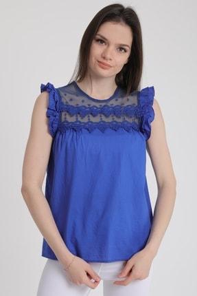 MD trend Kadın Saks Omuz Fırfırlı Sıfır Kol Dantelli Bluz Mdt5464 0