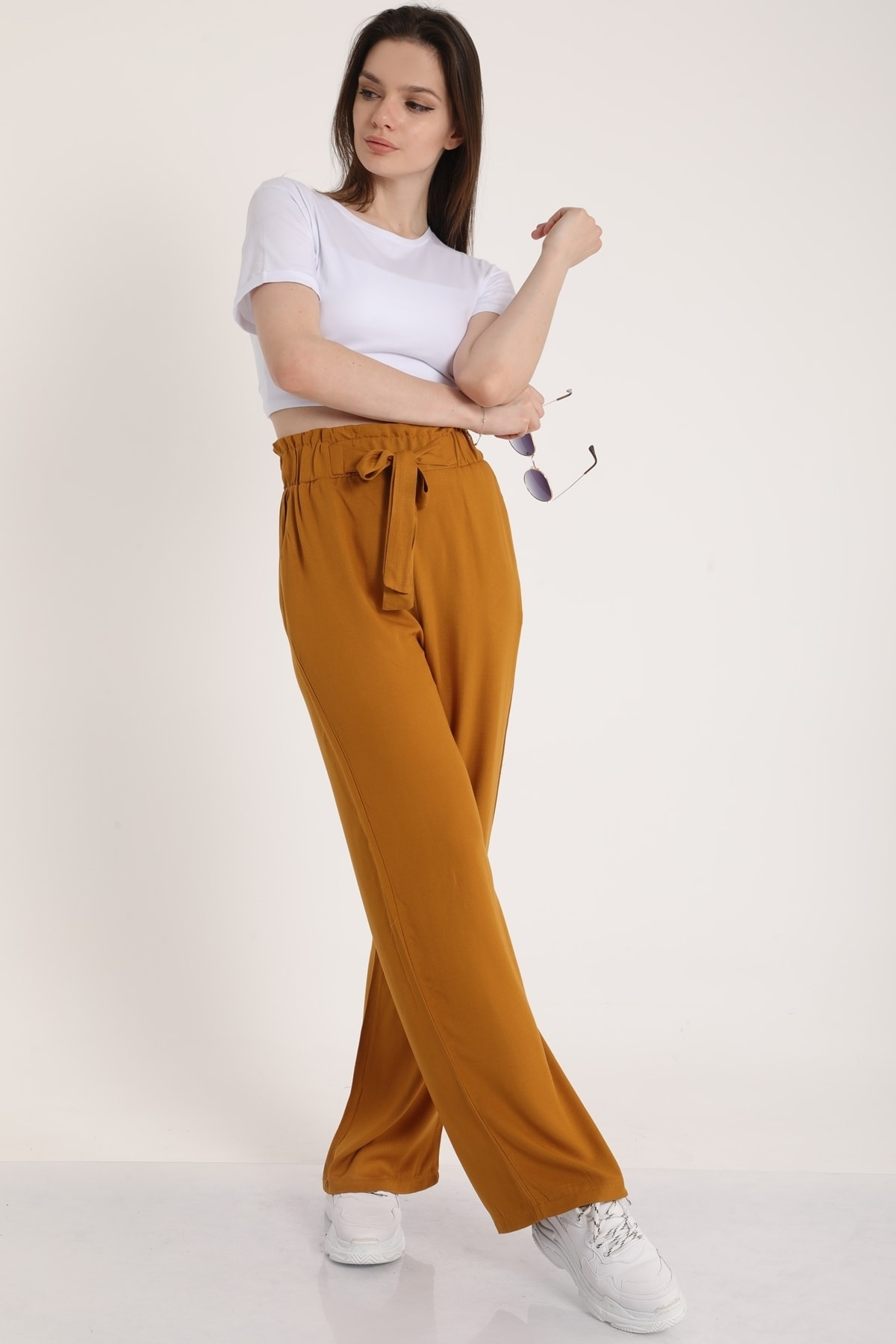 Kadın Taba Bel Lastikli Kemerli Salaş Pantolon  Mdt5181
