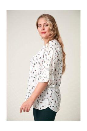 Rmg Kadın Beyaz Fırfır Detaylı Büyük Beden Bluz 2