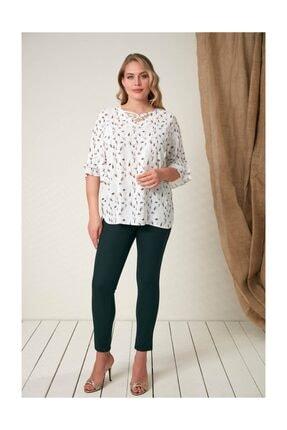 Rmg Kadın Beyaz Fırfır Detaylı Büyük Beden Bluz 3