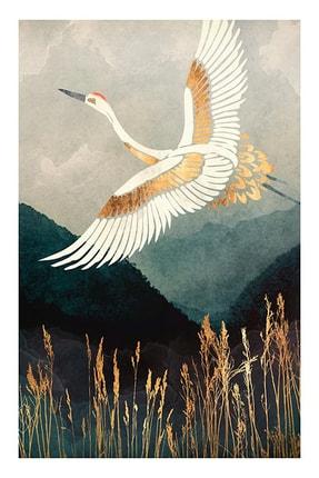 SHY HOME Altın Ve Beyaz Hayallere Giden Kuş Çerçeveli Tablo 1