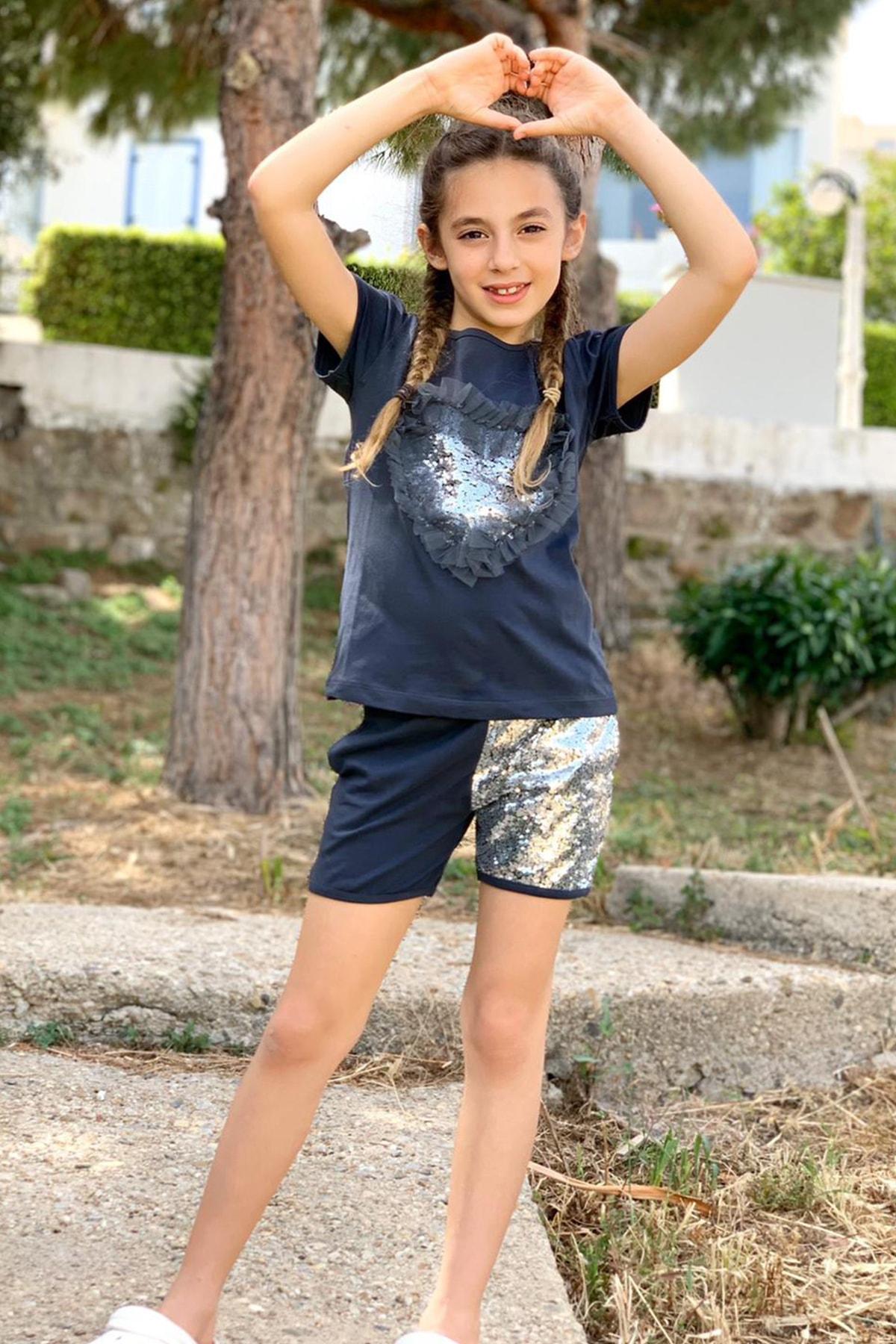Colorinas Love Tutu Patch Tshirt Kısa Kol Füme 0