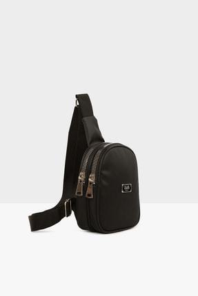 Bagmori Siyah Kadın Kalın Çift Fermuarlı Saten Mini Çapraz Çanta M000004419 1
