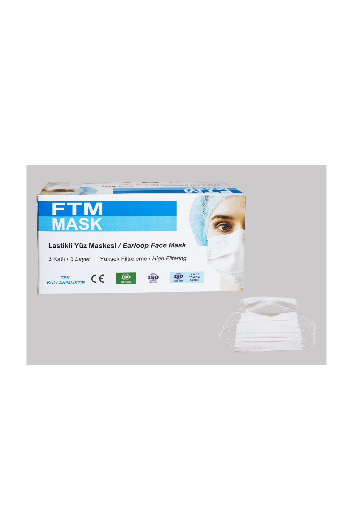 Burun Telli 3 Katlı ISO Belgeli  Cerrahi Yüz Maskesi  50 adet