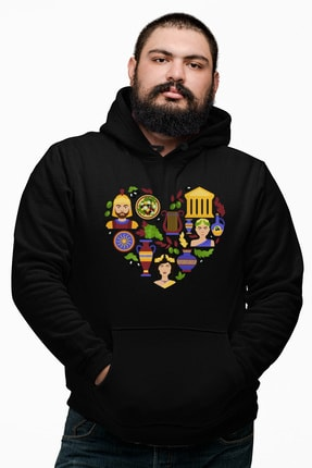Angemiel Erkek Wear Kalp İçindeki Simgeler Siyah Kapüşonlu Sweatshirt 0