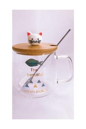 MİEN Cam Kupa Bambu Kapaklı Kedi Model 0