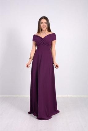 giyimmasalı Kayık Yaka Kiloş Elbise - Patlıcan Mor 0
