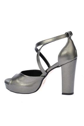 Ayakland Cilt Abiye 11 cm Platform Topuk Sandalet Ayakkabı 3210-2058 3