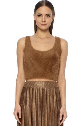 Kadın Slim Fit Camel Tüylü Kazak 1074320