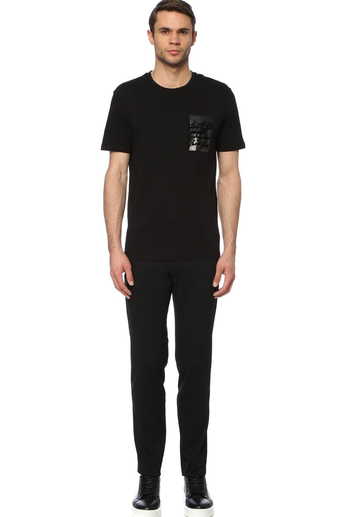 Network Erkek Slim Fit Siyah Tshirt 1074388