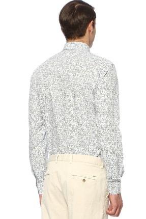 Network Erkek Slim Fit Mavi Beyaz Gömlek 1074238 2