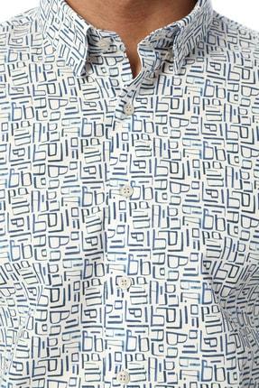 Network Erkek Slim Fit Mavi Beyaz Gömlek 1074238 3