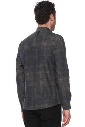 Network Erkek Slim Fit Kahverengi Gömlek 1074237 2